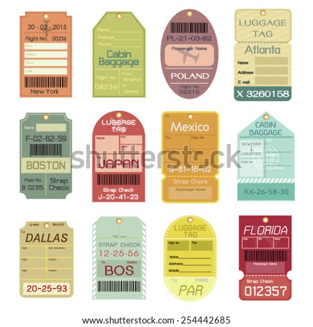 Set of Vintage Luggage Tags - stock vector