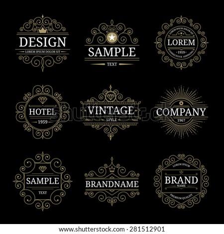 Set of vintage luxury logo templates with flourishes elegant calligraphic ornamental design elements. Vector illustration - stock vector