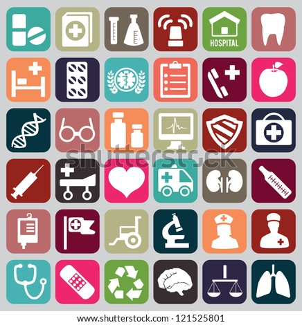 Set of vintage medical icons - vector icons - stock vector