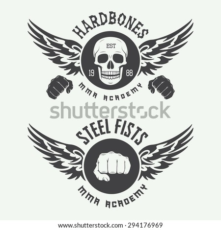 Set of vintage mixed martial arts logo, badges and emblems. Vector illustration - stock vector