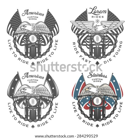 Set of vintage motorcycle emblems and design elements - stock vector