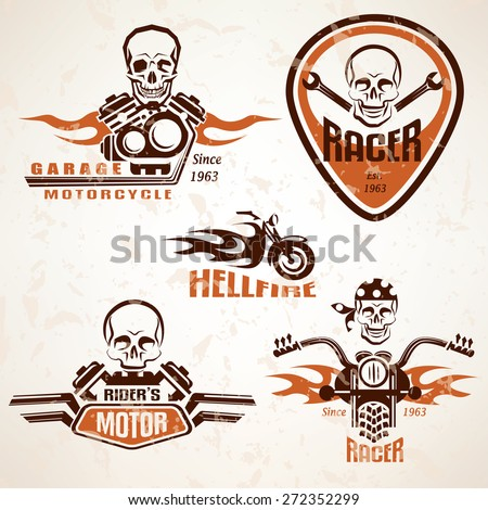 Set of vintage motorcycle labels, badges and design elements with skull in grunge style - stock vector