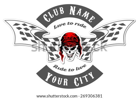 Set of vintage motorcycle labels, skull labels, badges and design elements - stock vector