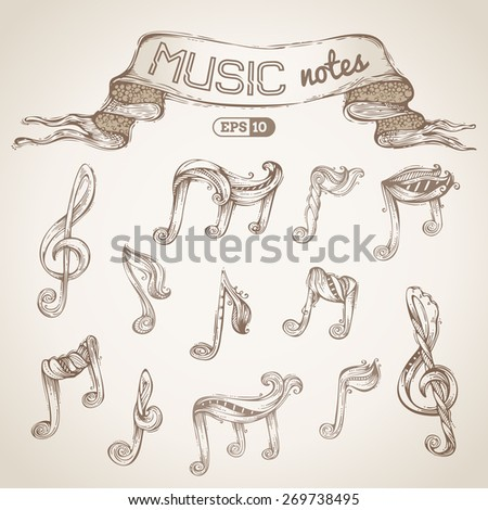 Set of vintage music symbols. Vector hand-drawn sketch. Music notes and treble clefs. - stock vector