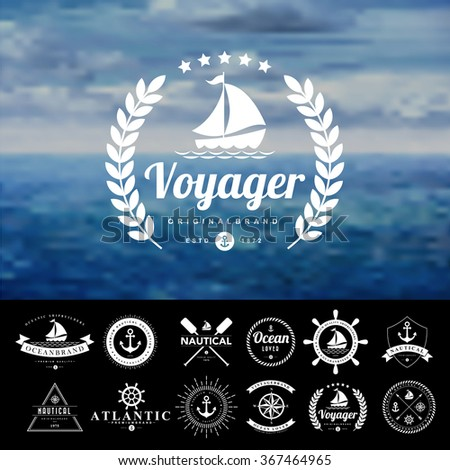Set of vintage  nautical badges and labels - stock vector