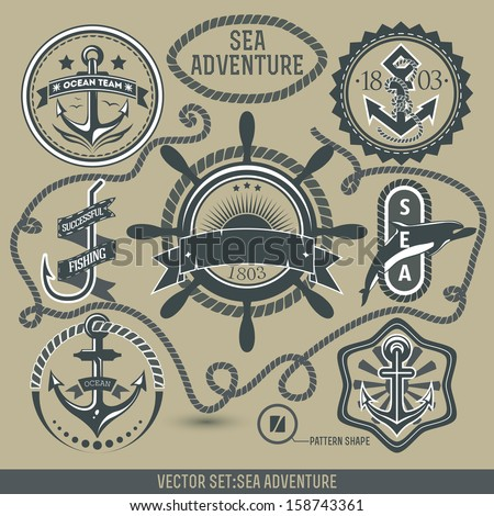 Set of vintage nautical icons. - stock vector
