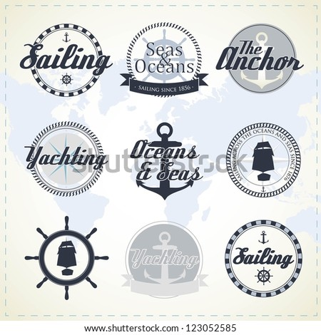 Set of vintage nautical labels - stock vector