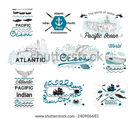 Set of Vintage Nautical Labels Logos  and elements for design - stock vector