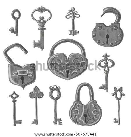 Set of vintage open and close padlocks and retro keys for door. Collection of old antique lock with victorian decorative ornament. Vector illustration isolated on white background.