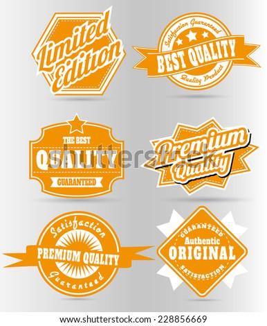 set of vintage orange quality labels - stock vector