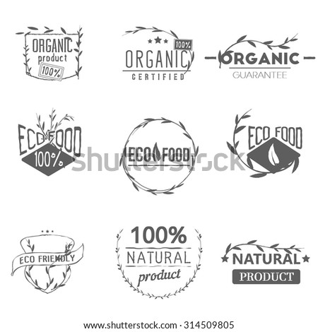 Set of vintage organic labels, badges, icons, logos, design templates. Plants elements, leaves. Natural, organic, eco food. Vector signs - stock vector