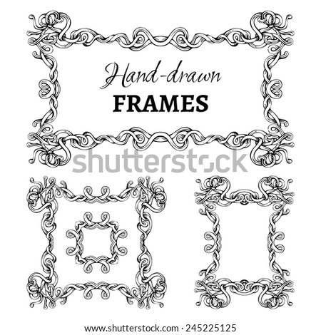 Set of vintage ornate frames. Retro design elements for invitations and congratulations. - stock vector