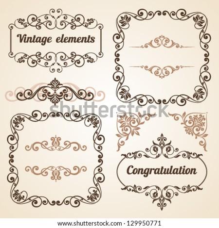 Set Vintage Ornate Frames Floral Elements Stock Vector 129950771 ...