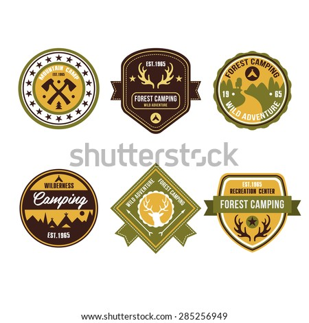 Set of vintage outdoor camp badges and logo emblems - stock vector