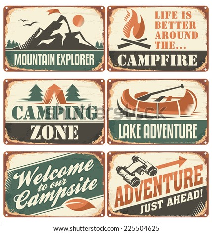 Set of vintage outdoor camp signs and poster templates. - stock vector