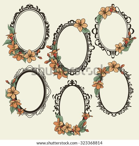 Set Vintage Oval Frames Decorated Flowers Stock Photo (Photo, Vector ...