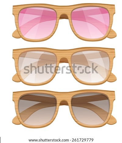 Set of Vintage Party sunglasses. Retro style. Vector Illustration. - stock vector