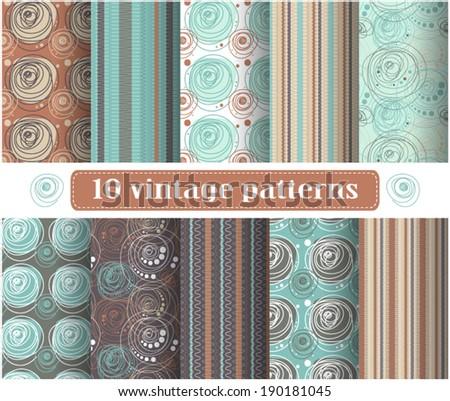 Set of vintage patterns - stock vector