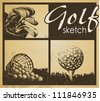 Set of vintage patterns. Golf - stock photo