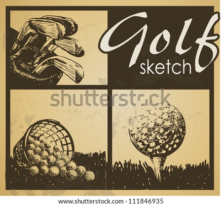 Set of vintage patterns. Golf - stock vector