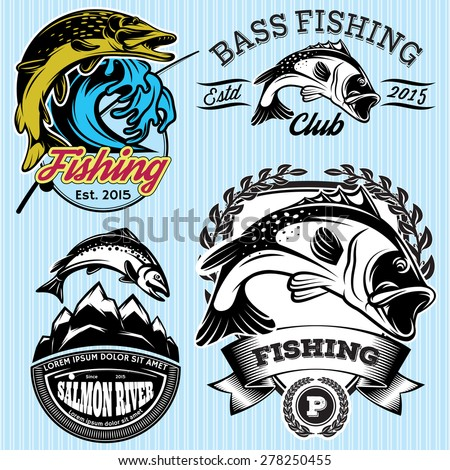 set of vintage patterns with emblems for fishing with pike, salmon, bass - stock vector