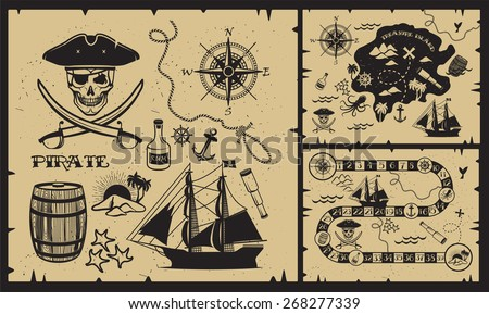 Set of vintage pirate elements. Pirate themed design elements.