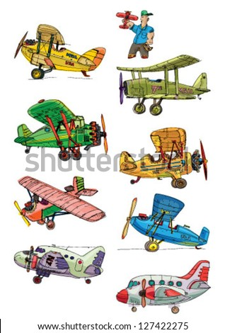 set of vintage plane - stock vector