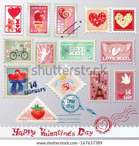 Set of vintage post stamps with hearts for Valentines Day design.  - stock vector