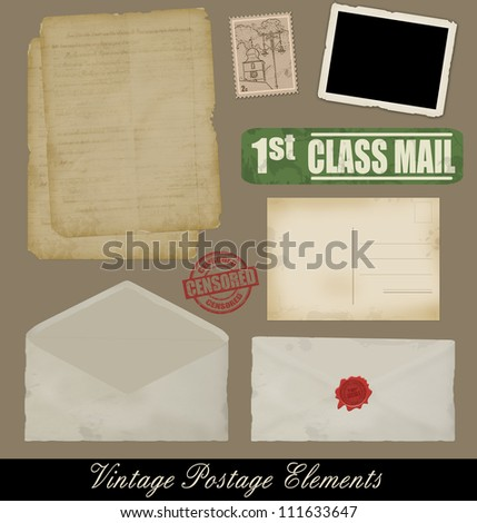 Set of Vintage Postage Design Elements, vectot illustration