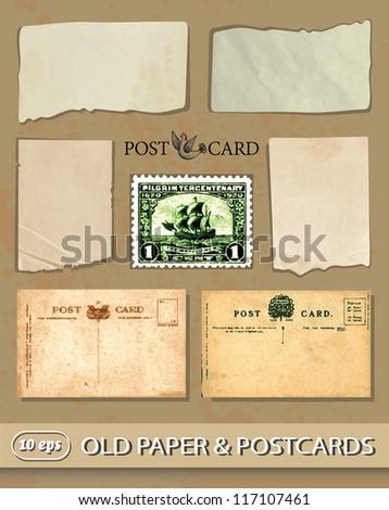set of vintage postcards, old paper, postage stamp. - stock vector