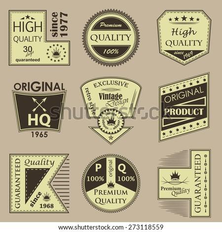 Set of vintage premium quality labels   - stock vector
