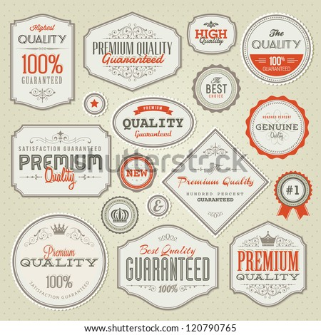 Set of vintage premium quality labels and badges - stock vector