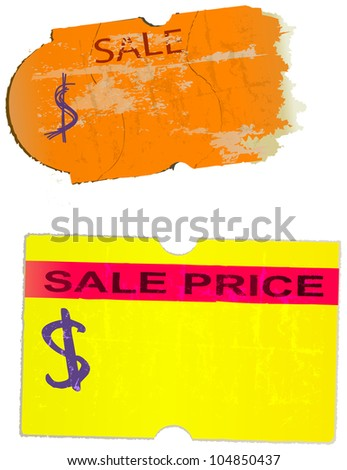 Set of vintage price stickers adhesive labels vector illustration