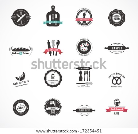 Set of vintage restaurant and food badges labels and icons - stock vector