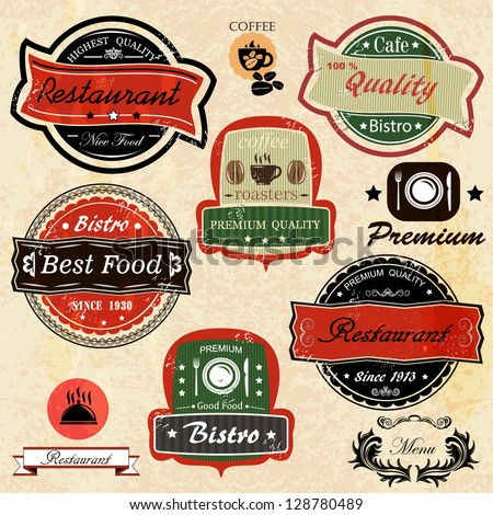 Set of vintage  restaurant,  bistro cafe and coffee labels - stock vector