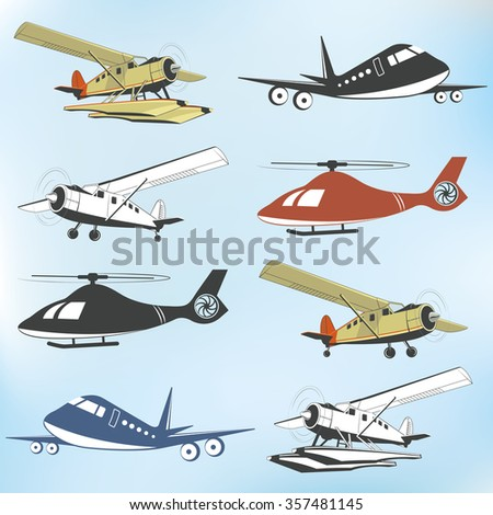Set of vintage retro aeronautics flight badges and labels  - stock vector