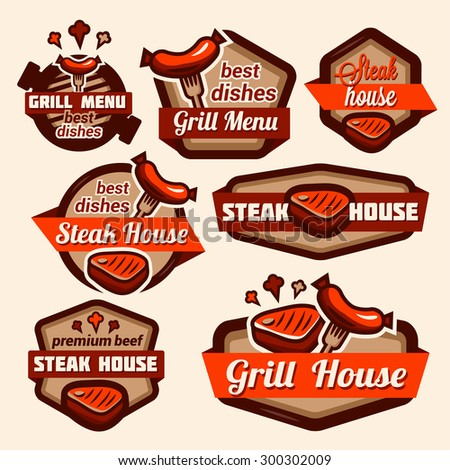 Set of vintage retro badge, label, logo design templates for grill and steak house. - stock vector