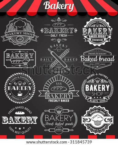 Set of vintage retro bakery logo badges and labels on blackboard - stock vector