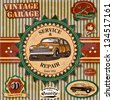 Set of vintage retro car labels - stock photo