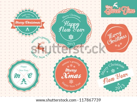 Set of vintage retro Christmas,New Year badges and labels - stock vector
