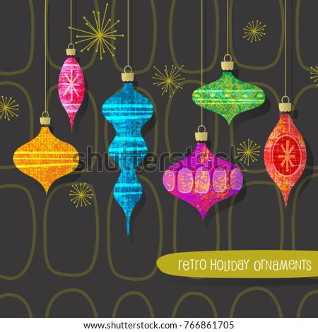 Set of vintage retro christmas ornaments. Vector design elements for holiday greeting cards, banners, invitations.