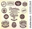 Set Of Vintage Retro Coffee Badges And Labels - stock photo