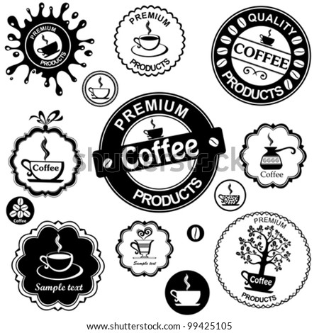Set of vintage retro coffee badges and labels isolated on White background. Vector illustration - stock vector