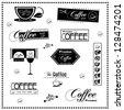 Set of vintage retro coffee labels - stock vector