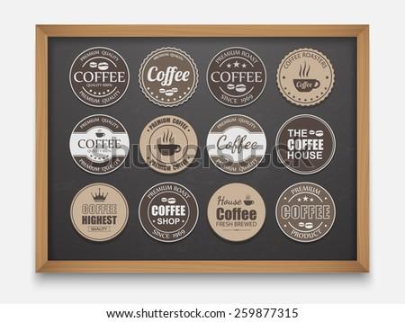 Set of vintage Retro Coffee Labels On Chalkboard,vector  - stock vector
