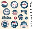 Set of vintage retro 2012 election badges and labels - stock photo