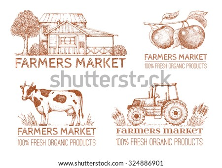 Set of vintage retro farm logo. Labels and design elements. Tree, apple, house, tractor. Logotype. Hand drawn illustration. Farmers market.