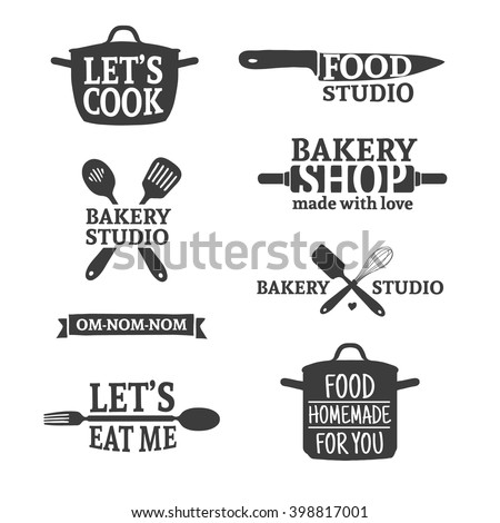 Set of vintage retro handmade badges, labels and logo elements, retro symbols for bakery shop, cooking club, food studio or home cooking. Template logo with silhouette cutlery. Vector. - stock vector