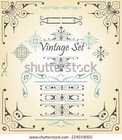 Set of vintage retro labels  - stock vector