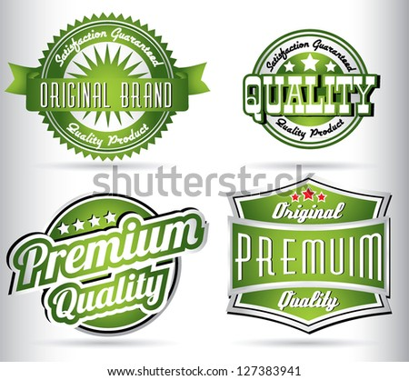 set of vintage retro labels in green color - stock vector